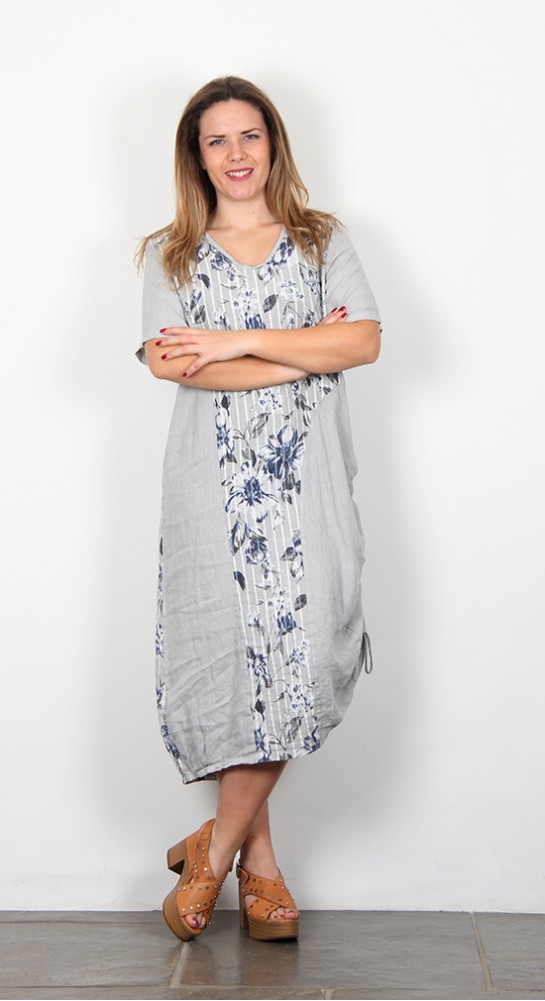 Eden Rock Linen Panel Dress Grey