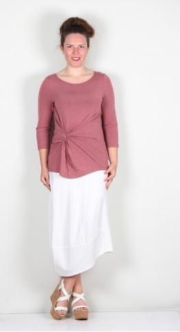Elsewhere Carla Knot Front Top Coral