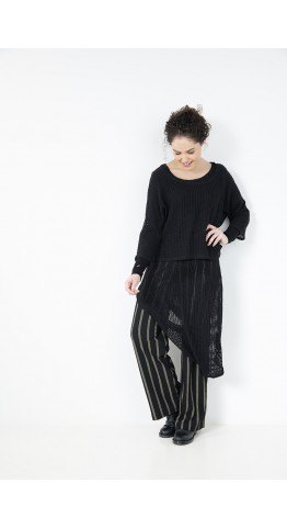 Elsewhere Scottie Flare Trouser Black Stripe