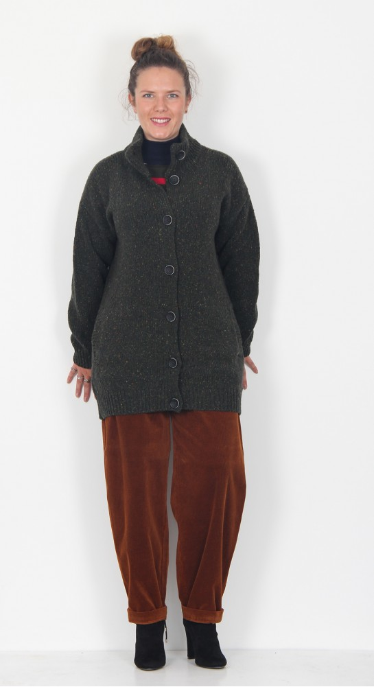Fisherman Out of Ireland Donegal Fleck Funnel Neck Cardigan Hunters Green