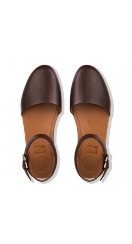 Fitflop COVA II Closed-Toe Leather Sandals Chocolate Metalic