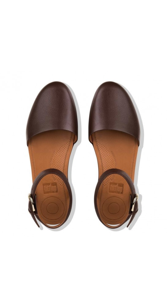 Fitflop COVA II Closed-Toe Leather Sandals Chocolate Metalic