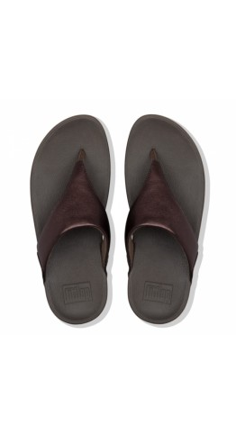 Fitflop LULU Metallic Leather Toe-Post Sandals Chocolate
