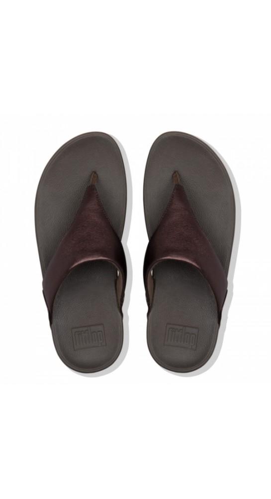 Fitflop LULU Metallic Leather Toe-Post Sandals Chocolate