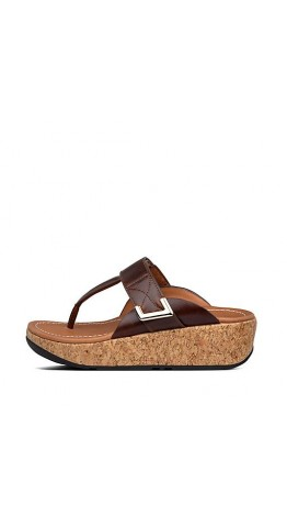 Fitflop REMI Adjustable Leather Sandals Chocolate Brown