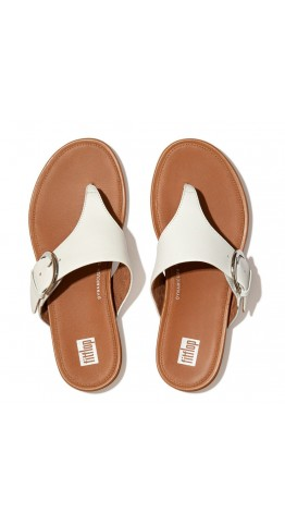Fitflop GRACIE Buckle Leather Toe-Post Sandals Urban White