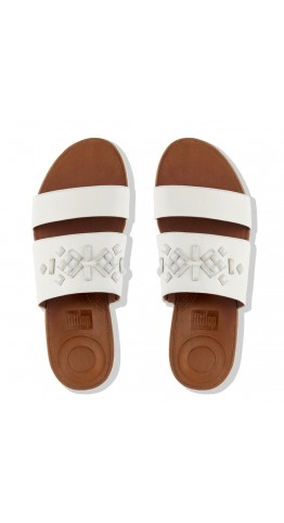 Fitflop Delta.Crystal Leather Slide Sandals White