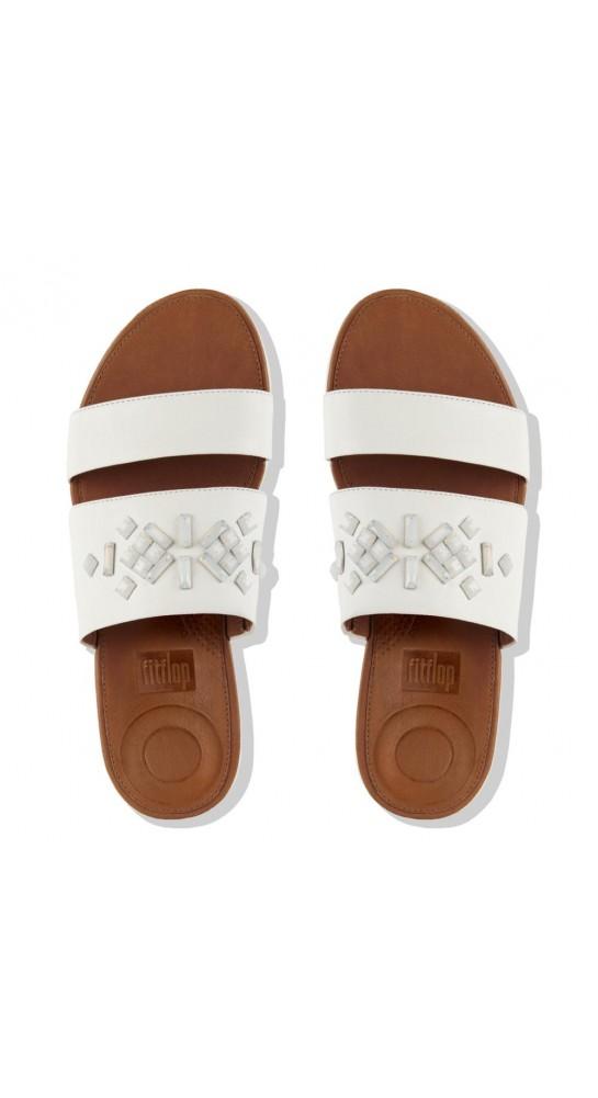 Fitflop Delta.Crystal Leather Slide Sandals White