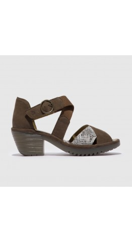 FLY LONDON WAID299FLY Strappy Sandal Pewter/Off White