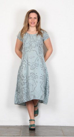 Grizas Print Linen Simple Dress Duck Egg