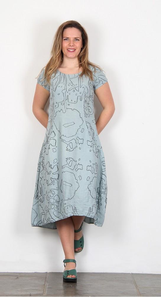 Grizas Print Linen Simple Dress Duck Egg