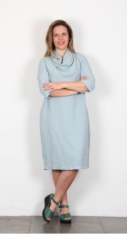 Grizas Cowl Neck Silk Dress Duck Egg