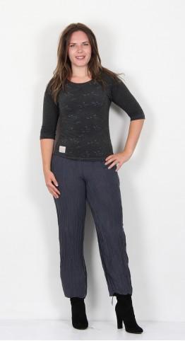 Grizas Linen Silk Crinkle Trouser Charcoal