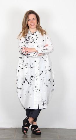 Grizas Linen Bubble Dress/Coat White Paint Splash