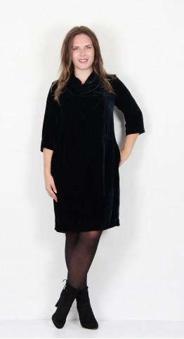 Grizas Drape Neck Velvet Dress Petrol