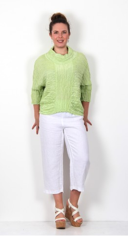 Grizas Linen Silk Cowl Neck Top Lime
