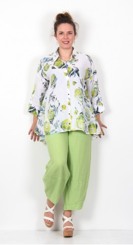 Grizas Linen Shirt Floral  Lime Grove