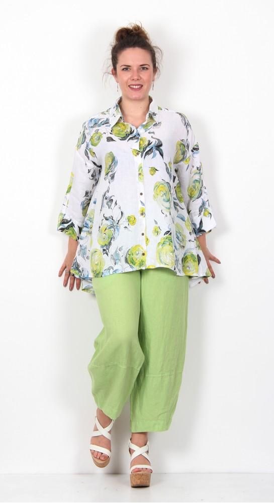 Grizas Linen Shirt Floral  Lime Grove