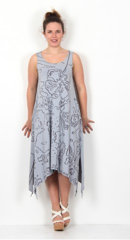 Grizas Print Jersey Tank Dress Dove