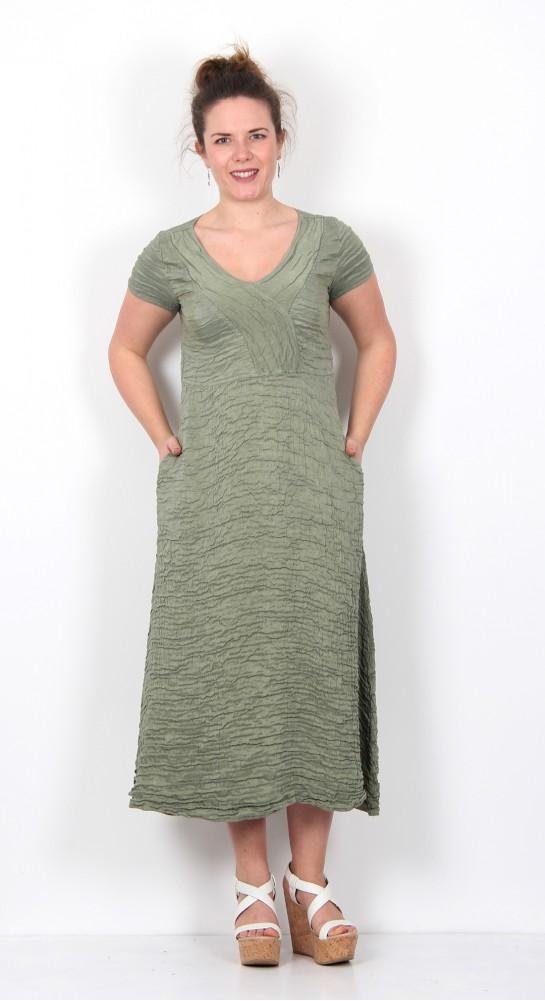 Grizas Linen Silk V-Neck Dress Fern