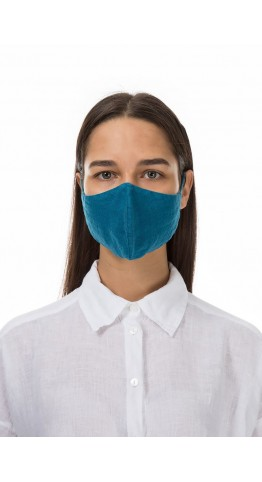 Grizas Pack of 3 Plain Linen Protective Face Masks Assorted Colours Blue Mix