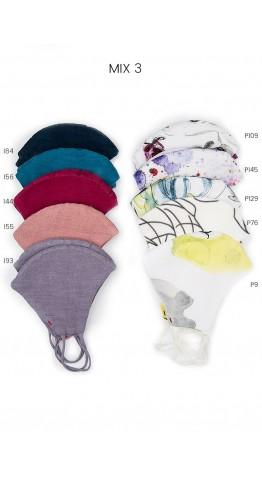 Grizas Pack of 10 Print & Plain Linen Protective Face Masks Bluemix