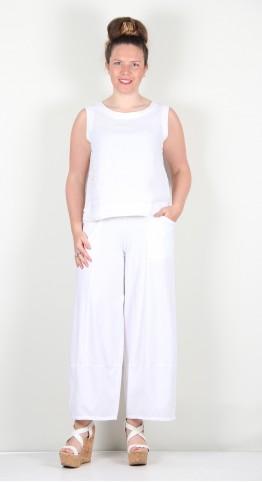 Grizas Jersey Bubble Trousers White
