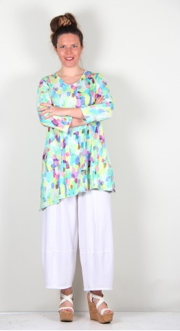 Grizas Asymetric Cotton Jersey Tunic Multi Paint