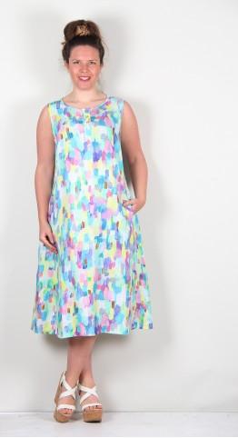 Grizas Button Placket Linen Dress Multi Paint