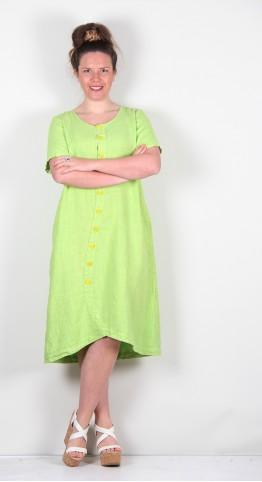 Grizas Short Sleeve Button Dress Lime