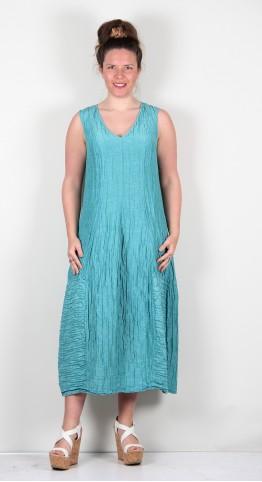 Grizas Bubble Dress Linen Silk V-Neck  Aqua