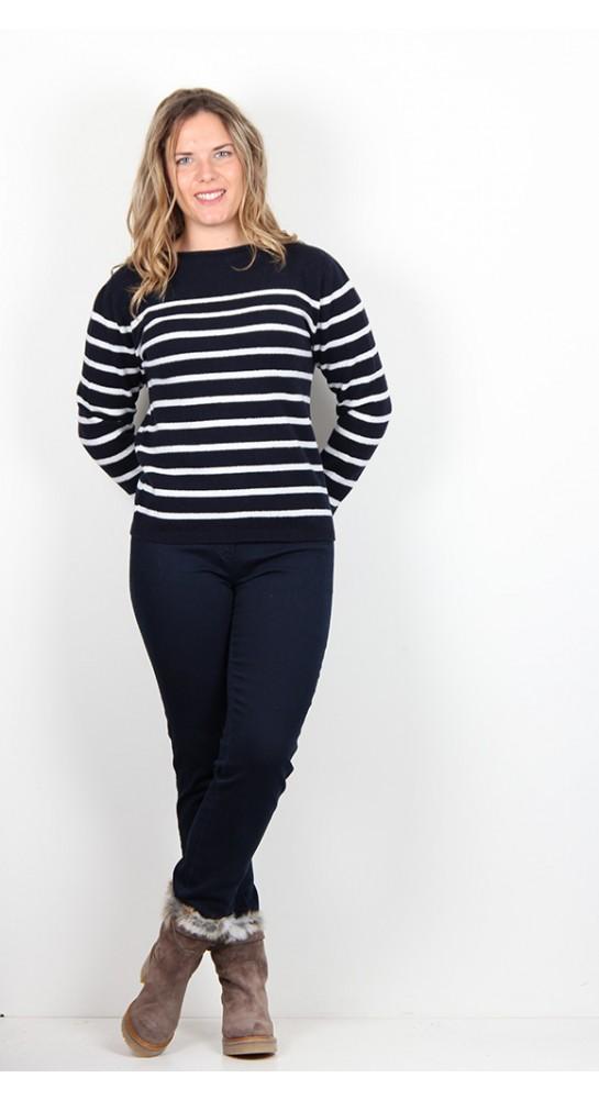 Harley Of Scotland Stripe Knit Navy/White