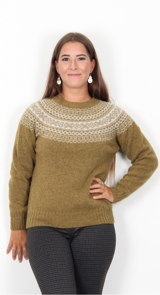 Harley Of Scotland Fairisle Knit Asparagus Putty