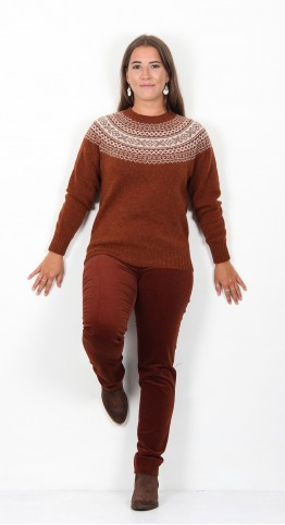 Harley Of Scotland Fairisle Knit Rust Putty