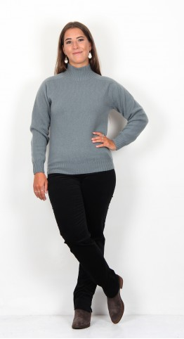 Harley Of Scotland Funnel Neck Knit Purslane