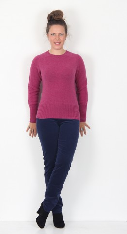Harley Of Scotland Crew Neck Knit Loganberry