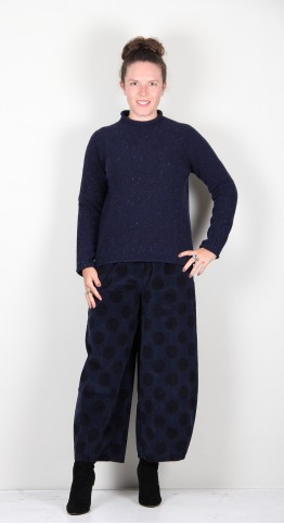 Harley Of Scotland Roll Edge Speckle Knit Sherian Navy