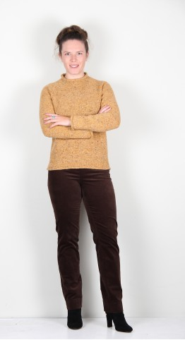 Harley Of Scotland Roll Edge Speckle Knit Hickory