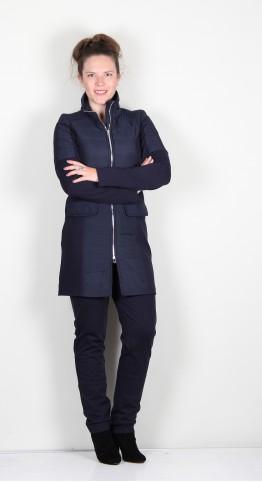 Icona Long Luxurious Zip Jacket Navy