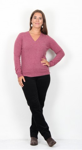 Ireland's Eye Luxe Touch V-Neck Sweater Rose