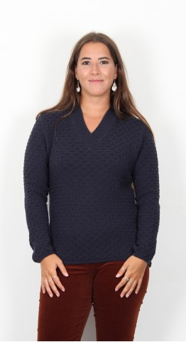 Ireland's Eye Baylin Honey Textured V-Neck Sweater Navy