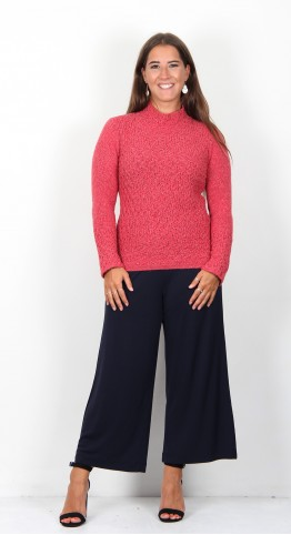 Ireland's Eye Emyvale Funnel Neck Sweater Coral