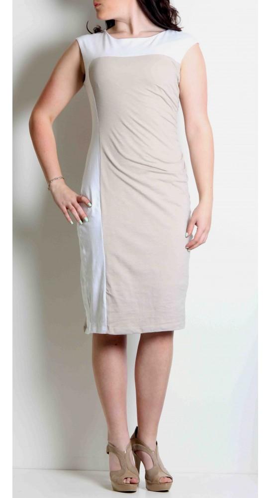 La Naturelle Rouched Dress Sable/White