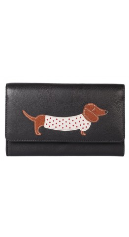 Mala Leather Best Friends Sausage Dog Purse Black