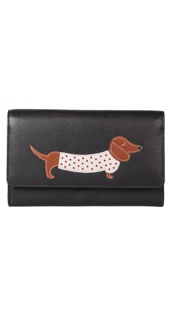 Mala Leather Best Friends Sausage Dog Purse Black