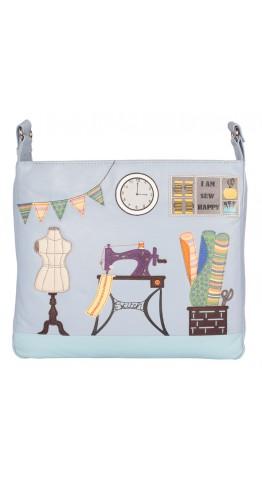 Mala Leather Sewing Room Shoulder Bag Blue