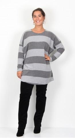 Mama B Sunny Round Neck Jumper Ash Grey Stripe