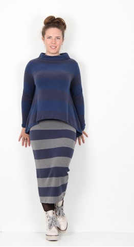 Mama B Praga Funnel Neck Jumper Aviation Biro Stripe