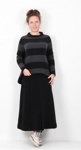 Mama B Praga Funnel Neck Jumper Anthracite Black Stripe
