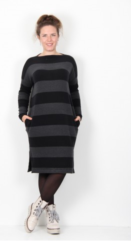 Mama B Rabat Dress Anthracite Black Stripe